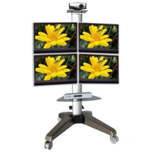 Four Screen Wheeled Standing Monitor Mount (PSF208)