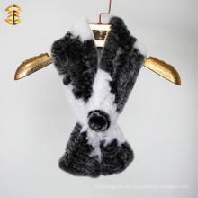 2016 mujeres invierno hecha punto Rex Rabbit pieles Snood y bufanda con una flor