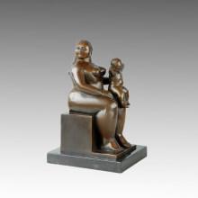 Östliche Figur Statue Fat Mother-Son Bronze Skulptur TPE-645