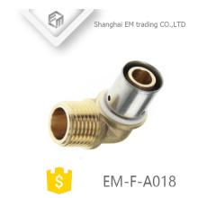 EM-F-A018 conector de compressão de encaixe de tubulação de cotovelo de bronze masculino
