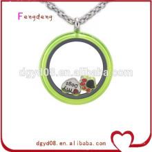 medalhão charme colar medalhões de vidro pingente medalhão de aço inoxidável