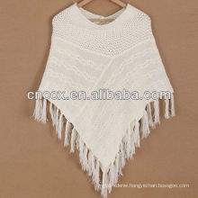 12STC0860 wool blended womens poncho sweater