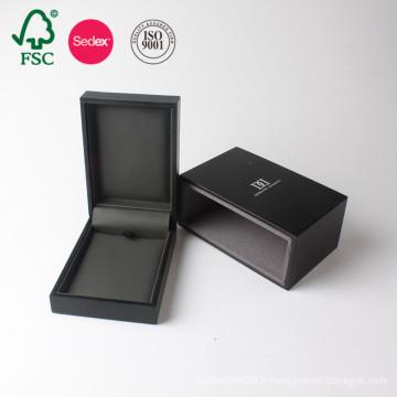 Fabricant de carton d'emballage de luxe de boîte-cadeau de mariage de bijoux de papier noir fait sur commande de Chine