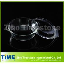 Boro Silicate0.7L Casserole ronde avec couvercle en vrac Pack