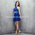 Sem mangas curtas designs vestido de dama de honra 2pcs conjunto Sem encosto cor azul conversíveis vestido de dama de honra com pesado beading