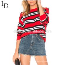 Nueva moda con capucha mujer rayas suéter de gran tamaño para el otoño y el invierno