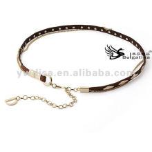 Moda Mulheres Cintos Gold Studs Magro Metal Cintos De Couro Cadeia Para Senhoras 2015 Com Preço De Fábrica BC4589G-2