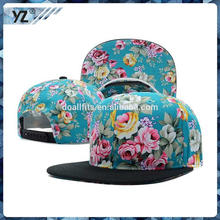 Hot selling floral printing snapback caps and hats with low price