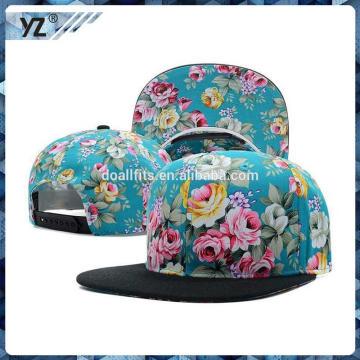 Casquillos y sombreros de plástico snapback de impresión floral hechos en China