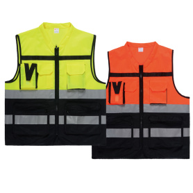 Gilet di sicurezza con tasche color cuciture