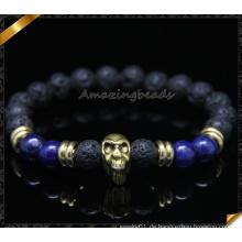 8mm Lava Energie Stein Perlen Handgefertigte Schädel Armband (CB0120)