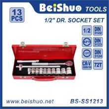 "13 PCS 1/2"" Carbon Steel Ratchet Wrench Socket Set"