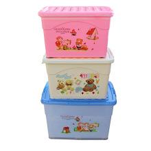 Caja de almacenamiento de plástico de dibujos animados con ruedas para almacenamiento (SLSN055)