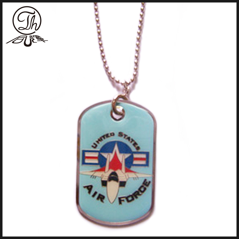 Epoxy enamel dog tag with ball chain