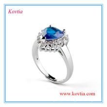 Design haut de gamme coeur en or blanc de l'anse bleue bleu saphir pour noces