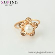 15456 xuping mode lueur bijoux en gros 18k plaqué or dernière imitation perle anneau conçoit pour les femmes