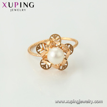 15456 xuping fashion glow wholesale jewelry 18k gold plated latest imitation pearl ring designs for women