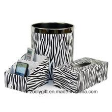 Zebra PU Leather Office Настольный держатель для канцелярских принадлежностей Tissue Box Корзина для мусора