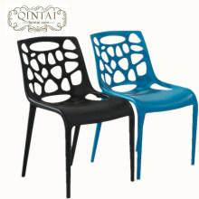 Silla de plástico ligera y apilable, silla de comedor de moda, silla de espera de ocio