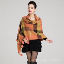 Senhora moda lã malha bola de pêlo de coelho inverno xale (yky4483)