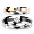 Stainless Steel Zircon Kekasih Romantis Engagement Couple Ring