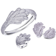 Leaf Silver Jewelry Set Micro Pave Setting Jewelry