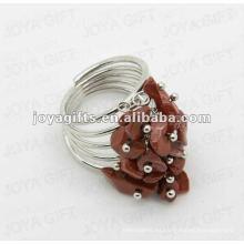 Piedra roja chip piedra wrap anillos