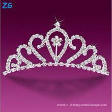 Luxuoso pentes de casamento de cristal, pás de concurso para princesa, pentes de cabelo elegante flor