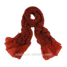 Soft crinkle yarn dye viscose scarf