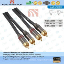 Gold 2rca av cable for component video and stereo audio cable