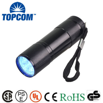 Venta al por mayor 9 LED linterna UV 395nm longitud de onda de aleación de aluminio Mini Blacklight Keychain 9 LED linterna con precio de fábrica