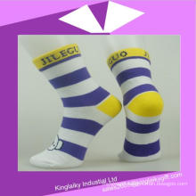 Cotton Stripe Socks with Customized Jacquard