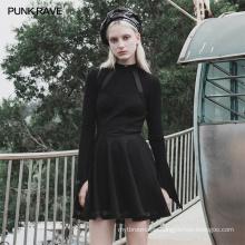PUNK RAVE OPQ-607LQF girls sexy dart series mesh asymmetrical hem clothes backless vintage bodycon wholesale black dress