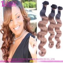 Venda por atacado 6A série cor 1bT # #8 beleza ombre barato cabelo extensão
