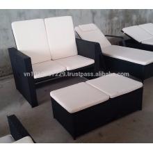 Muebles de jardín / al aire libre de mimbre - Gaslift set de sofá ajustable