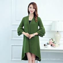 Senhora fashion mink cashmere de malha plissado inverno cardigan manga (yky2067)