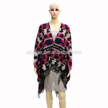 Fashion women tribal winter ladies Jacquard poncho coats