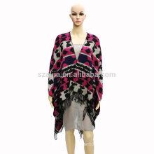 Moda mulheres tribal inverno senhoras jacquard poncho casacos