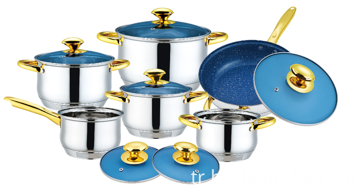 Blue Glass Lid Cookware Set
