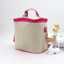 New Arrival Eco Friendly Custom Jute Cooler Bag Insulated Linen Lunch Bag