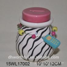 High quality zebra-stripe ceramic money bank for girl