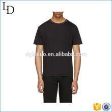 Mens moda de alta qualidade o pescoço preto 100% algodão manga curta t-shirt
