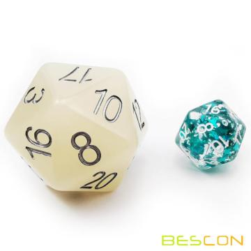 Bescon Jumbo Glowing D20 38MM, Tamaño grande 20 lados Dados Iced Blue Glow In Dark, Big 20 Faces Cube 1.5 pulgadas