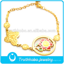 Bracelet à breloques personnalisé en plaqué or 18 K avec moulage de bijoux en forme de tournesol