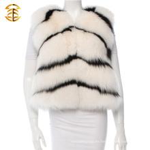 Mujeres Fox abrigo de piel Chaleco Gilet chal Mujeres Invierno caliente chaqueta de cuero Mujeres Fox Fur Gilets