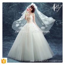 Luz-rosa Floral Vestido de casamento elegante da noite Vestido de baile Festa de aniversário das meninas Vestido doce da princesa Tamanho Plus