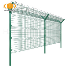 Cheap metal pvc coated fence panel with barb wire for airport