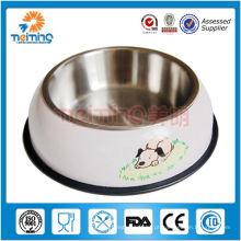 bacia / alimentador do cão do steed inoxidável de borracha redondo