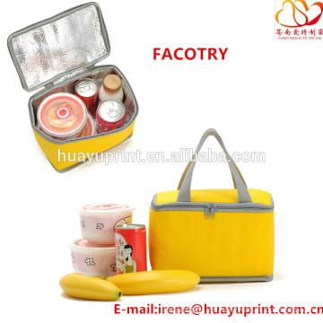 Bolsa no tejida del refrigerador, bolso cuadrado del almuerzo, bolso del almuerzo de la caja de almuerzo