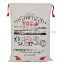 Jute Cotton Canvas Santa Sack Drawstring Christmas Gift Bag